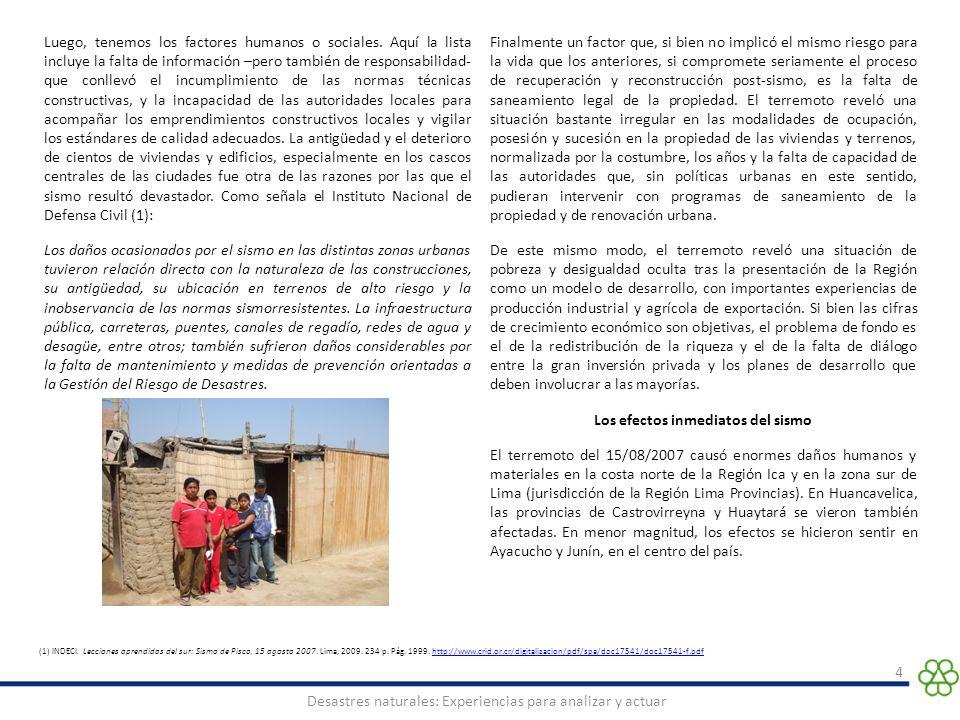 15 Desastres naturales: Experiencias para analizar y actuar DOCUMENTOS CONSULTADOS FORSUR Fondo de Reconstrucción del Sur.