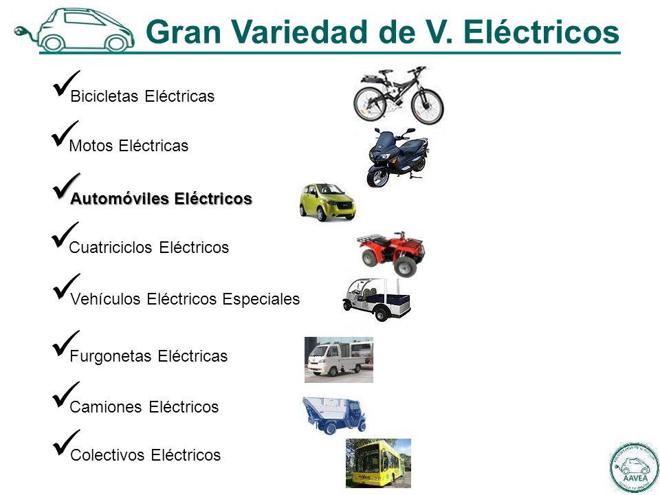 Bicicletas Eléctricas Motos Eléctricas Automóviles Eléctricos Automóviles Eléctricos Cuatriciclos Eléctricos Vehículos Eléctricos Especiales Furgonetas Eléctricas Camiones Eléctricos Gran Variedad de V.