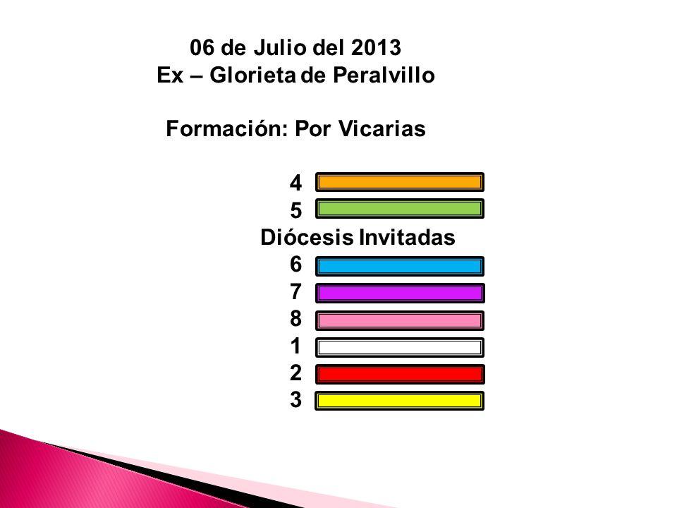 06 de Julio del 2013 Ex – Glorieta de Peralvillo Formación: Por Vicarias 4 5 Diócesis Invitadas 6 7 8 1 2 3