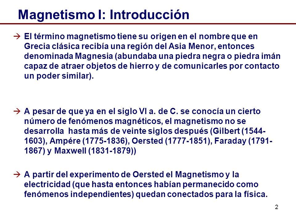 2 Magnetismo I: Introducción El término magnetismo tiene su origen en el nombre que en Grecia clásica recibía una región del Asia Menor, entonces denominada Magnesia (abundaba una piedra negra o piedra imán capaz de atraer objetos de hierro y de comunicarles por contacto un poder similar).