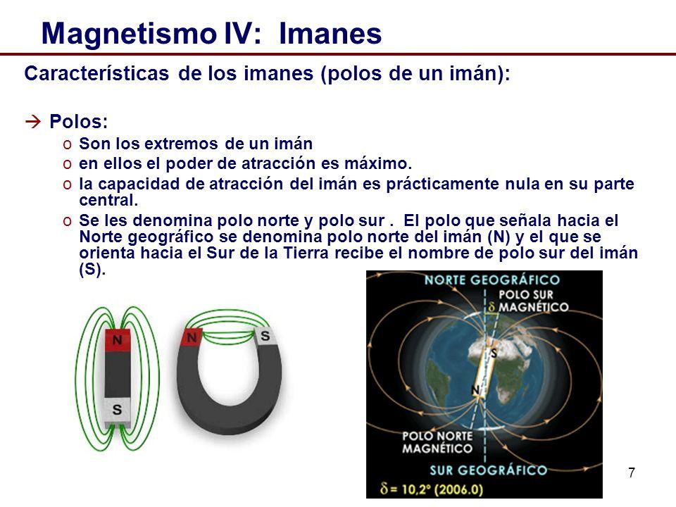7 Magnetismo IV: Imanes Características de los imanes (polos de un imán): Polos: oSon los extremos de un imán oen ellos el poder de atracción es máximo.