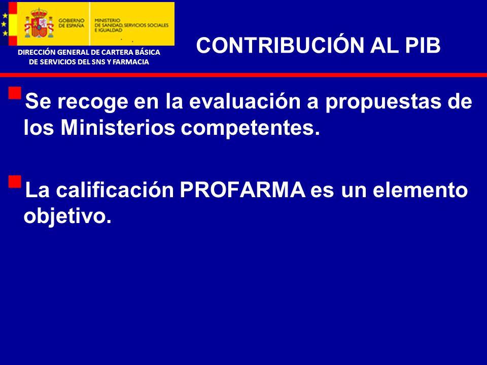 DIRECCIÓN GENERAL DE CARTERA BÁSICA DE SERVICIOS DEL SNS Y FARMACIA CONTRIBUCIÓN AL PIB Se recoge en la evaluación a propuestas de los Ministerios competentes.
