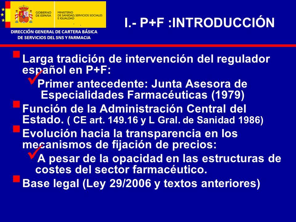 DIRECCIÓN GENERAL DE CARTERA BÁSICA DE SERVICIOS DEL SNS Y FARMACIA II.- P+F : BASES CONCEPTUALES Mercado inelástico, mínimamente sensible al precio.