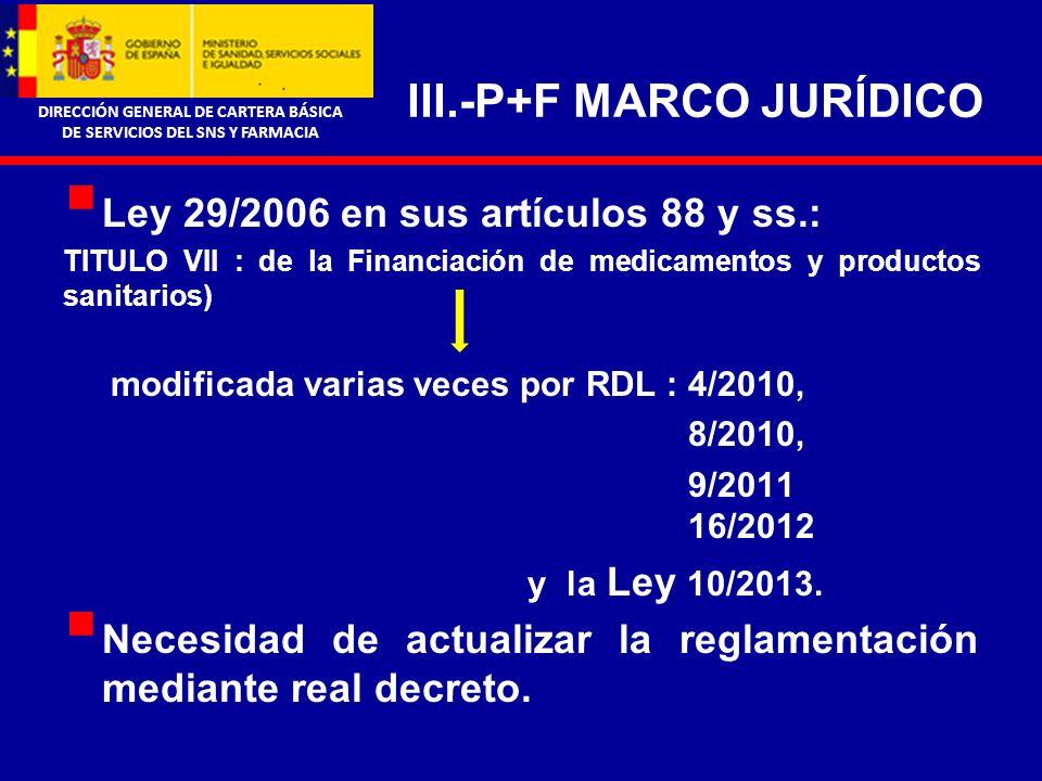 DIRECCIÓN GENERAL DE CARTERA BÁSICA DE SERVICIOS DEL SNS Y FARMACIA IV.- REGLAMENTACIÓN DE P+F CRITERIOS Precios y condiciones de financiación homogéneos para todo el territorio nacional.