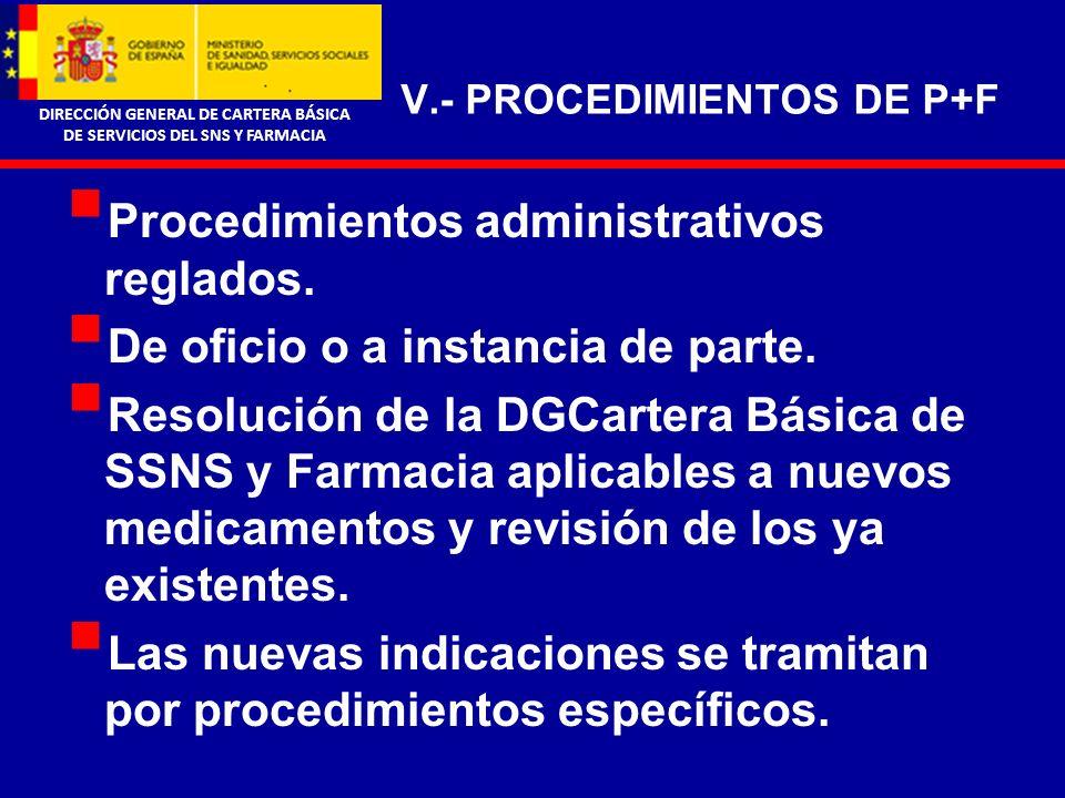 DIRECCIÓN GENERAL DE CARTERA BÁSICA DE SERVICIOS DEL SNS Y FARMACIA V.- PROCEDIMIENTOS DE P+F Procedimientos administrativos reglados.