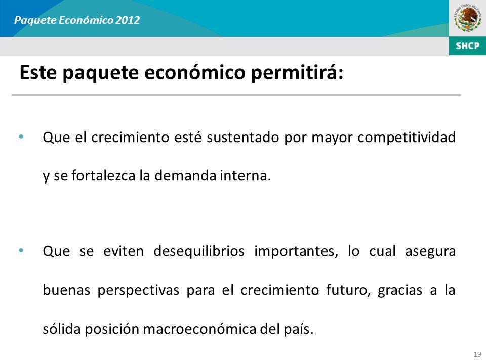 Este paquete económico permitirá: Paquete Económico 2012 Que el crecimiento esté sustentado por mayor competitividad y se fortalezca la demanda intern