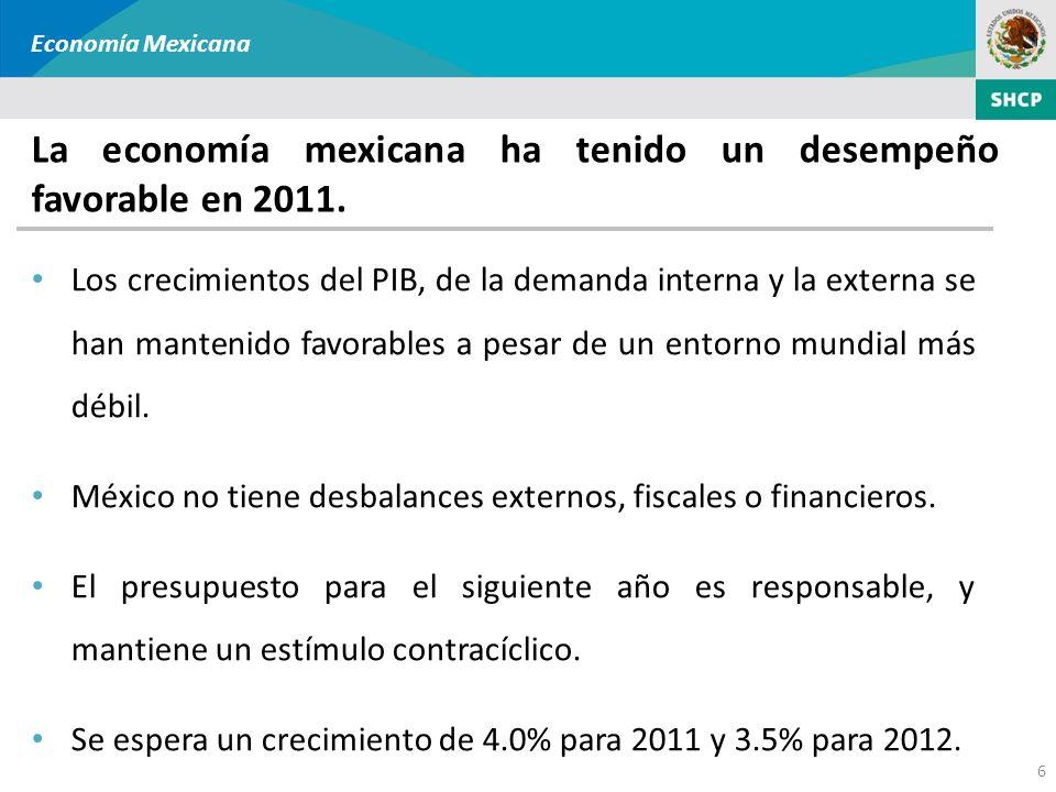 6 Economía Mexicana La economía mexicana ha tenido un desempeño favorable en 2011. Los crecimientos del PIB, de la demanda interna y la externa se han
