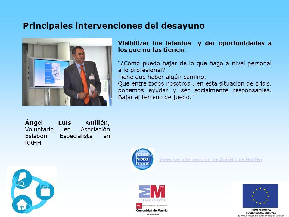 Principales intervenciones del desayuno Ángel Luís Guillén, Voluntario en Asociación Eslabón.