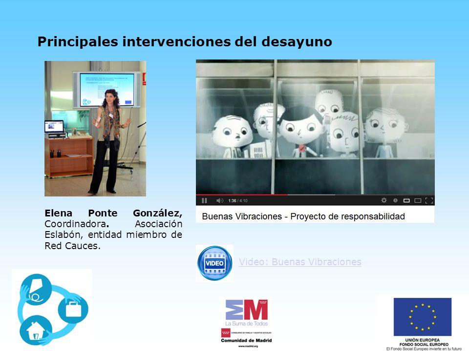 Principales intervenciones del desayuno Video: Buenas Vibraciones Elena Ponte González, Coordinadora.