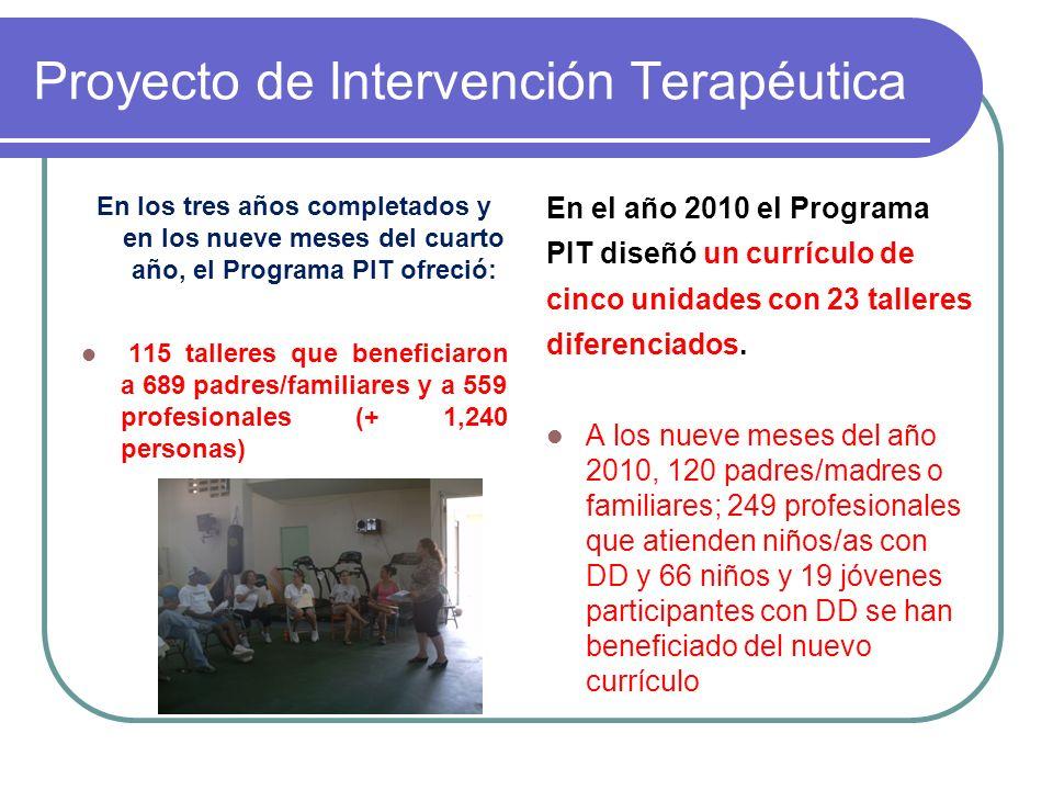Proyecto de Intervención Terapéutica En los tres años completados y en los nueve meses del cuarto año, el Programa PIT ofreció: 115 talleres que beneficiaron a 689 padres/familiares y a 559 profesionales (+ 1,240 personas) En el año 2010 el Programa PIT diseñó un currículo de cinco unidades con 23 talleres diferenciados.