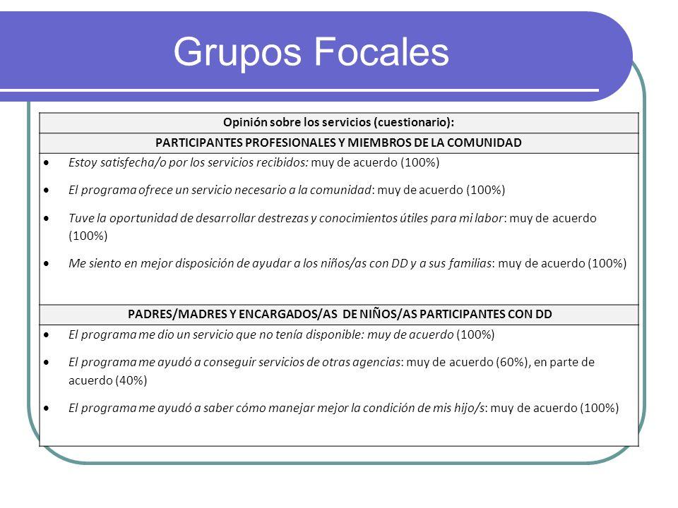Grupos Focales Opinión sobre los servicios (cuestionario): PARTICIPANTES PROFESIONALES Y MIEMBROS DE LA COMUNIDAD Estoy satisfecha/o por los servicios