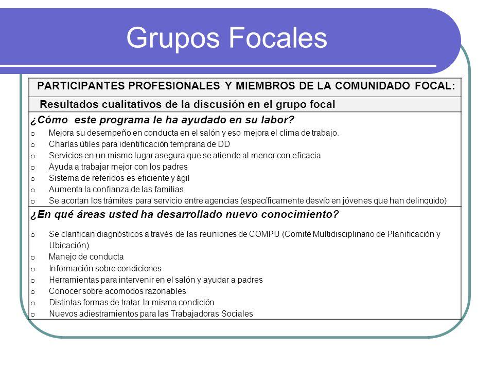 Grupos Focales PARTICIPANTES PROFESIONALES Y MIEMBROS DE LA COMUNIDADO FOCAL: Resultados cualitativos de la discusión en el grupo focal ¿Cómo este pro