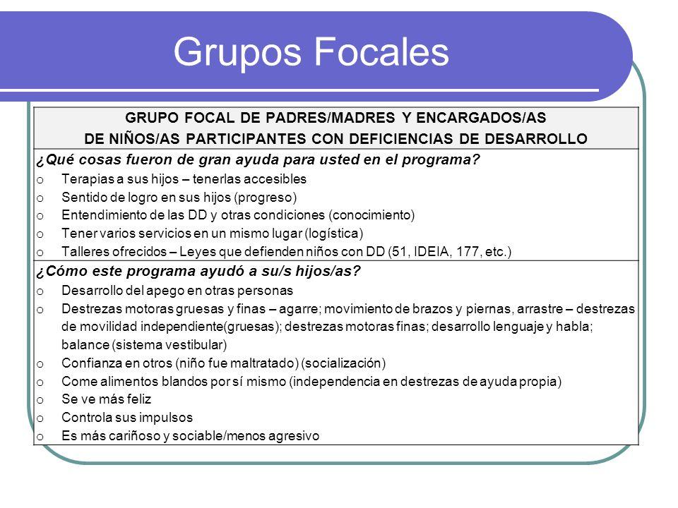 Grupos Focales GRUPO FOCAL DE PADRES/MADRES Y ENCARGADOS/AS DE NIÑOS/AS PARTICIPANTES CON DEFICIENCIAS DE DESARROLLO ¿Qué cosas fueron de gran ayuda p