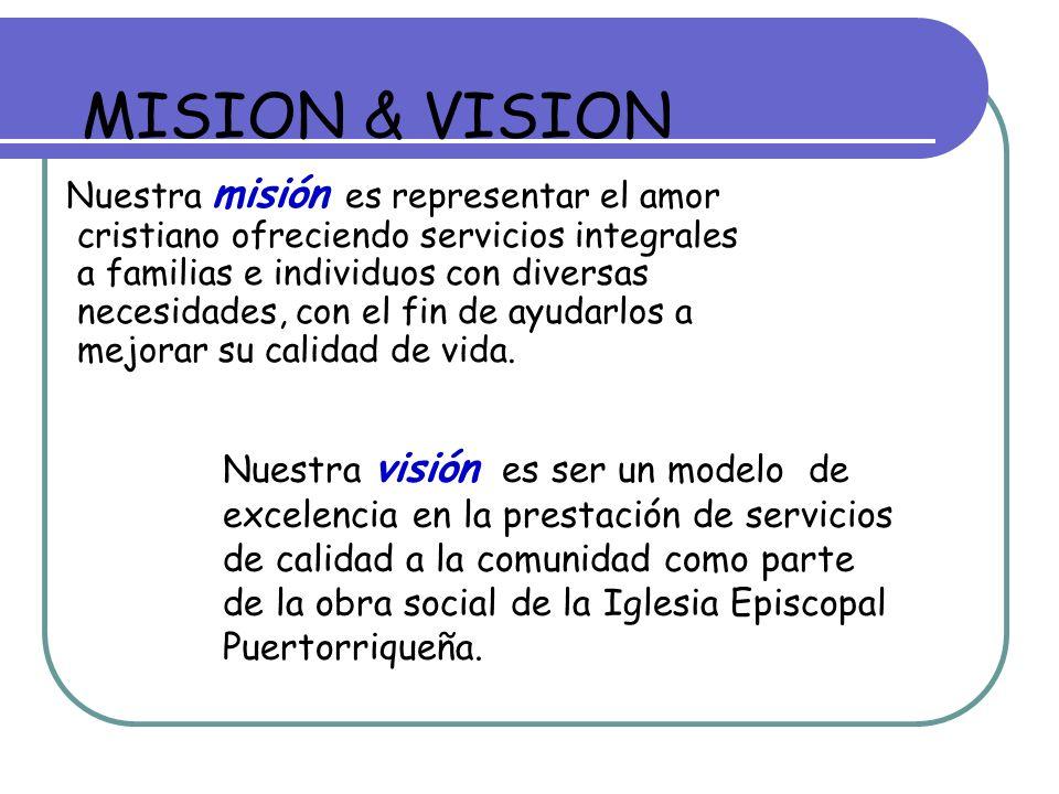 Nuestra visión es ser un modelo de excelencia en la prestación de servicios de calidad a la comunidad como parte de la obra social de la Iglesia Episcopal Puertorriqueña.