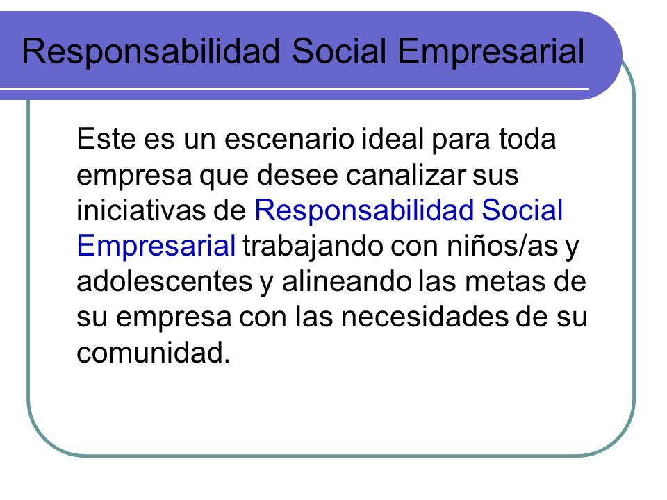 Responsabilidad Social Empresarial Este es un escenario ideal para toda empresa que desee canalizar sus iniciativas de Responsabilidad Social Empresar