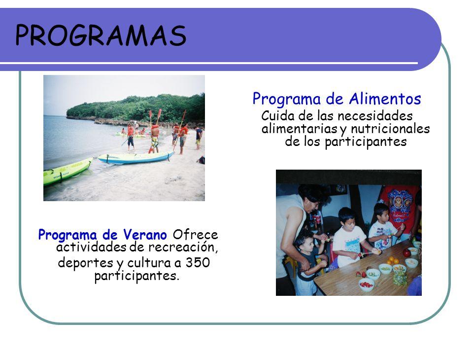 PROGRAMAS Programa de Verano Ofrece actividades de recreación, deportes y cultura a 350 participantes. Programa de Alimentos Cuida de las necesidades