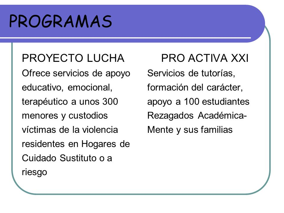 PROGRAMAS PROYECTO LUCHA Ofrece servicios de apoyo educativo, emocional, terapéutico a unos 300 menores y custodios víctimas de la violencia residente
