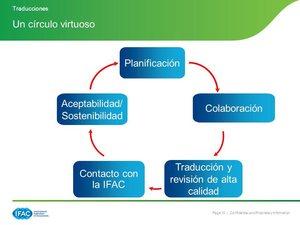 Page 10 | Confidential and Proprietary Information A Virtuous Translation Circle Un círculo virtuoso Planificación Colaboración Traducción y revisión