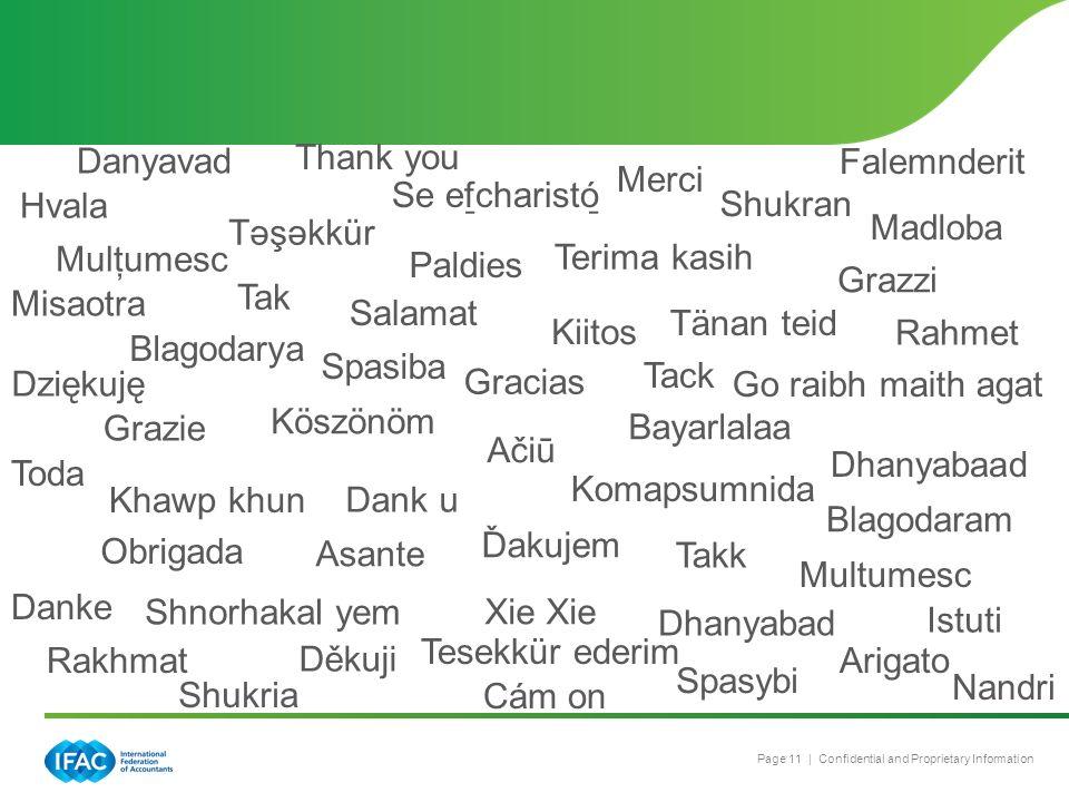 Page 11 | Confidential and Proprietary Information Ďakujem Obrigada Shukran Takk Arigato Thank you Merci Xie Dank u Danke Tack Blagodarya Děkuji Tak T