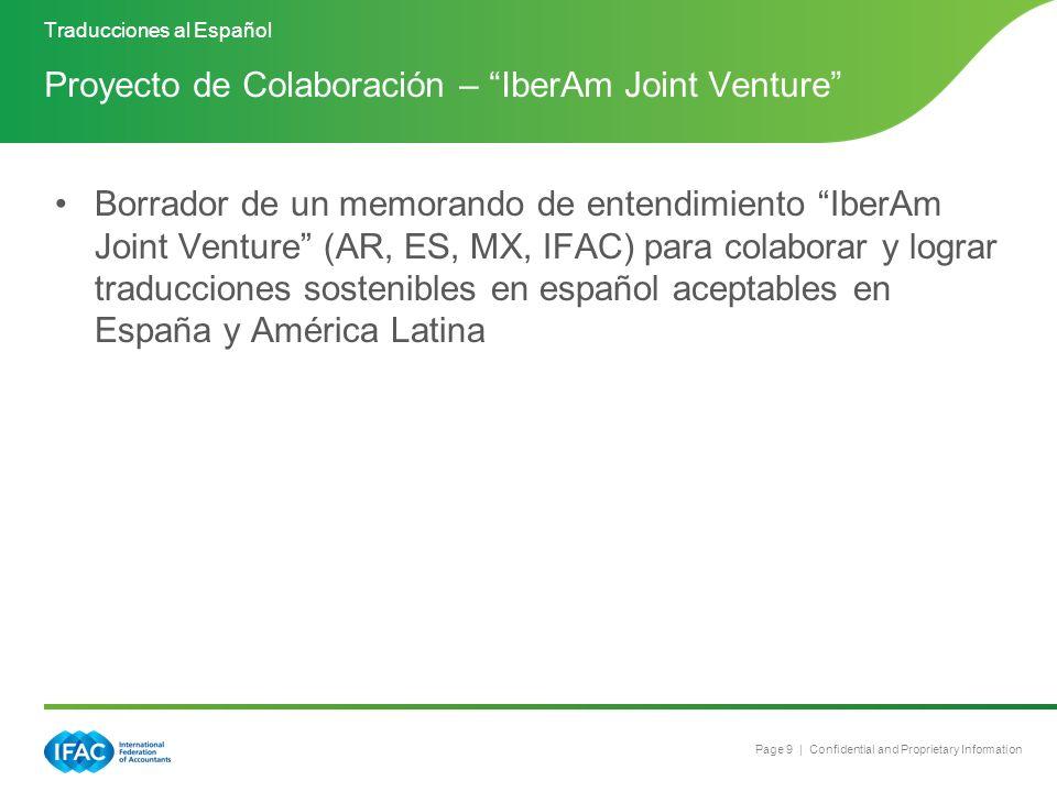 Page 9 | Confidential and Proprietary Information Borrador de un memorando de entendimiento IberAm Joint Venture (AR, ES, MX, IFAC) para colaborar y l
