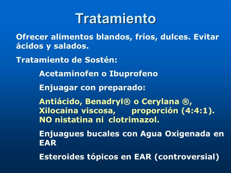 Tratamiento Gels con anestésicos, colutorios con antiinflamatorios.