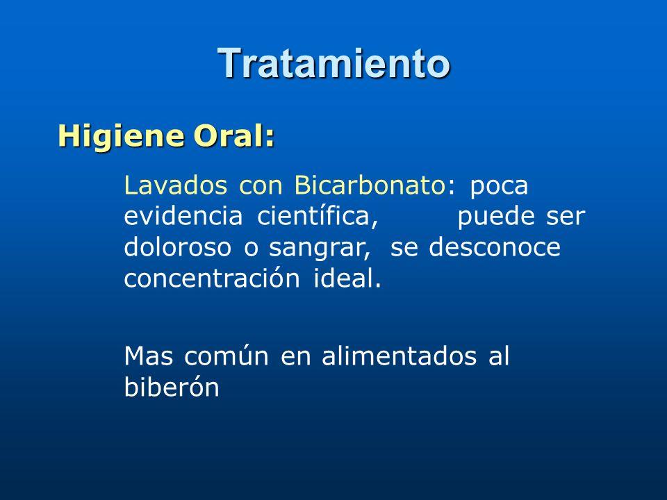 Tratamiento Nistatina: (Primera elección) No se absorbe por vía oral, 1 gt = 5000 U Dosis: 100.000 a 500.000 U/día ½ gotero en cada carrillo C/6 horas por 1 a 2 semanas Clotrimazol: (se desconoce dosis ideal) Gel para vía oral, aplicar 2 veces al día por 1 semana Violeta de Genciana al 1%: (tiñe de morado la boca) Aplicar con hisopo varias veces al día