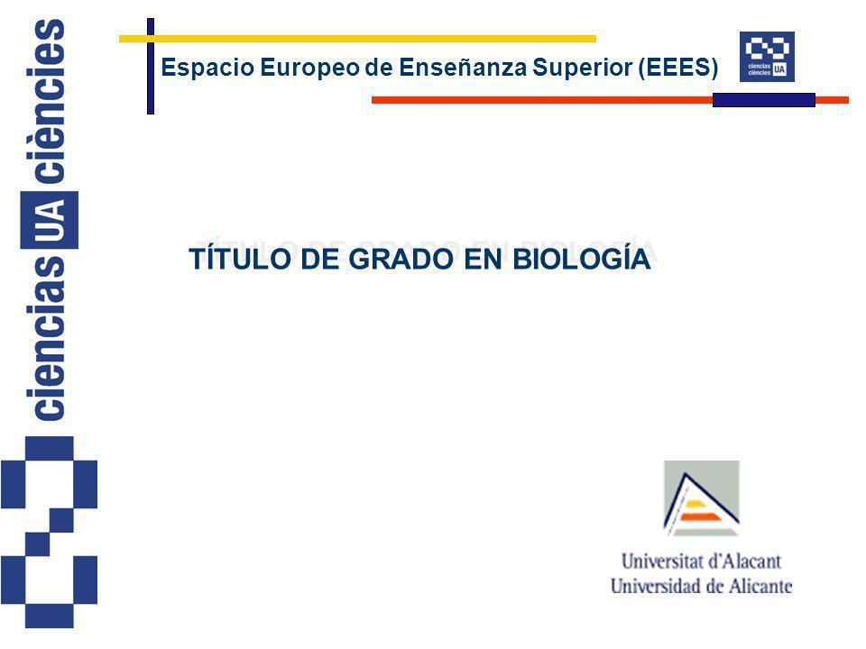 Espacio Europeo de Enseñanza Superior (EEES) TÍTULO DE GRADO EN BIOLOGÍA