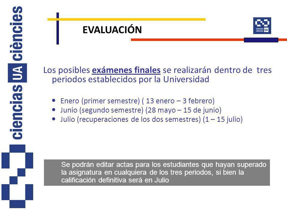 Los posibles exámenes finales se realizarán dentro de tres periodos establecidos por la Universidad Enero (primer semestre) ( 13 enero – 3 febrero) Ju