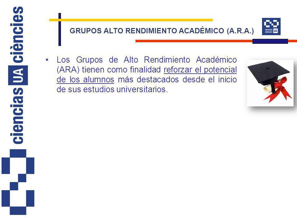Los Grupos de Alto Rendimiento Académico (ARA) tienen como finalidad reforzar el potencial de los alumnos más destacados desde el inicio de sus estudios universitarios.