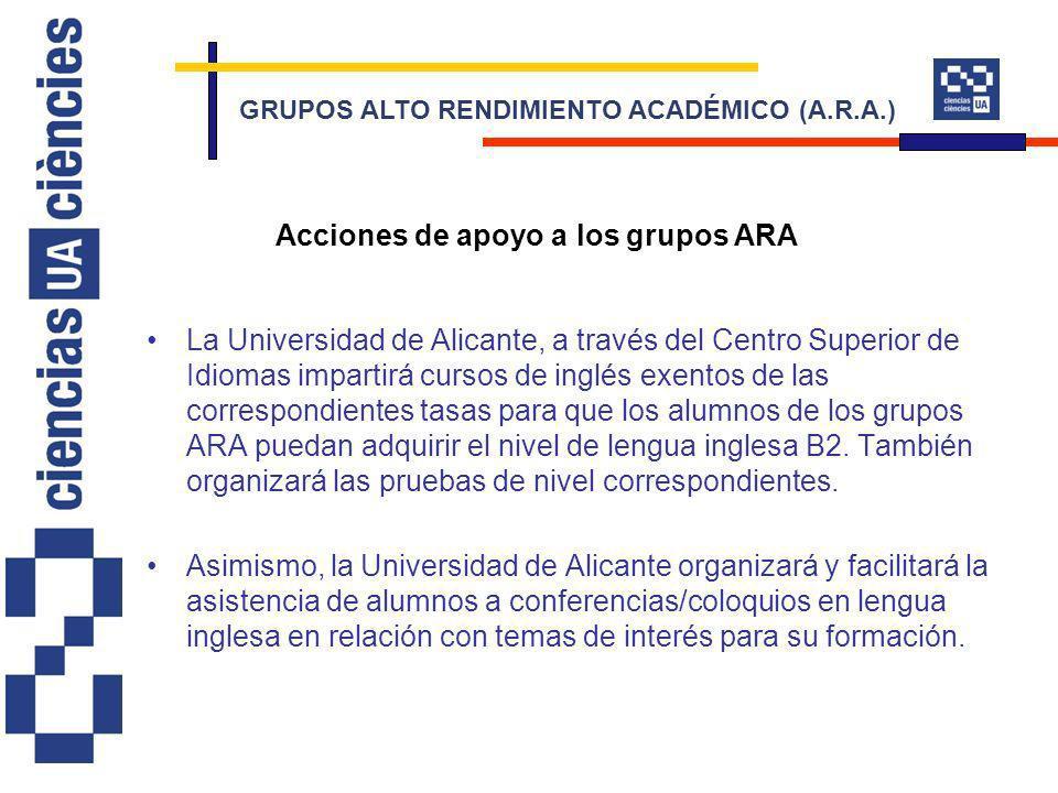 La Universidad de Alicante, a través del Centro Superior de Idiomas impartirá cursos de inglés exentos de las correspondientes tasas para que los alumnos de los grupos ARA puedan adquirir el nivel de lengua inglesa B2.