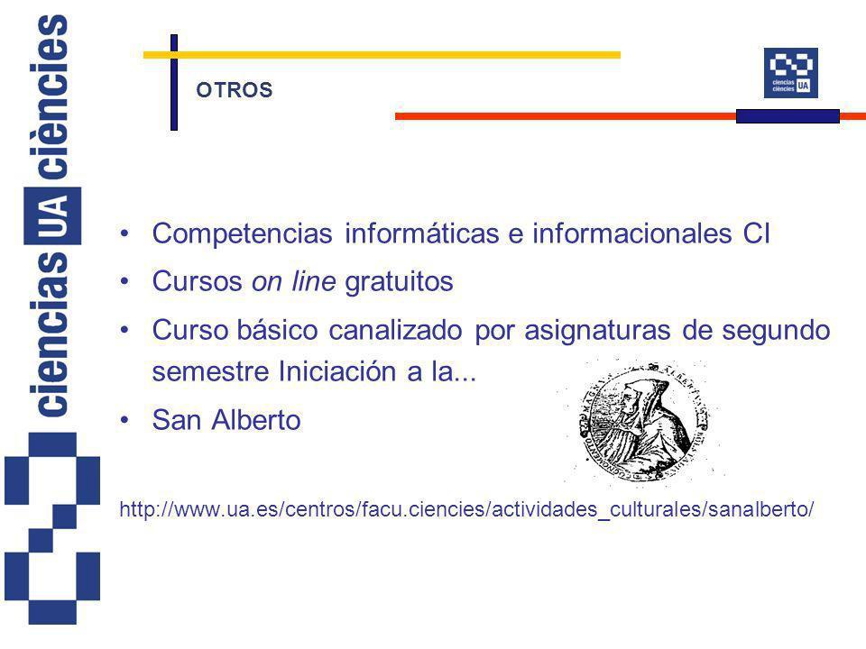 Competencias informáticas e informacionales CI Cursos on line gratuitos Curso básico canalizado por asignaturas de segundo semestre Iniciación a la...
