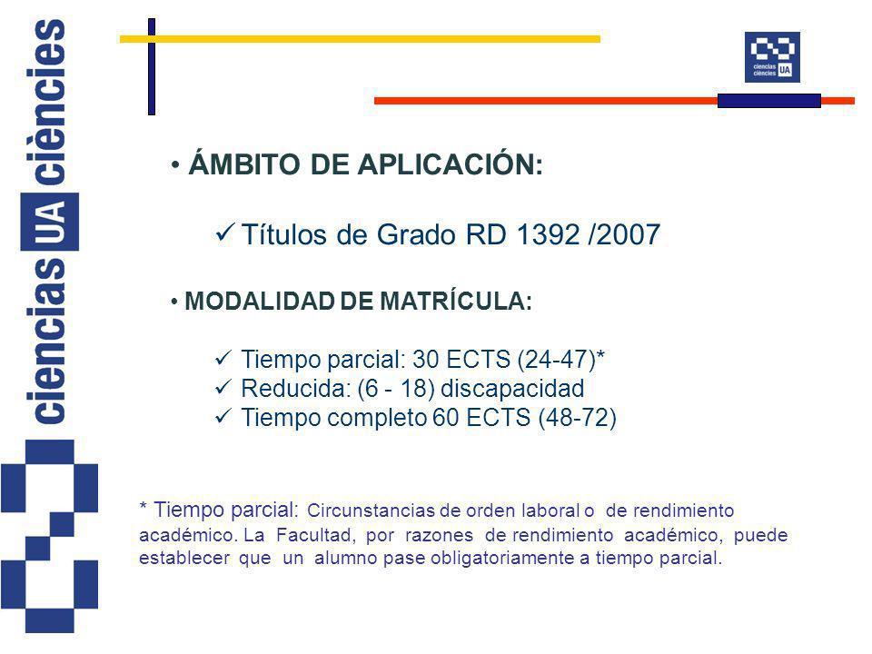 ÁMBITO DE APLICACIÓN: Títulos de Grado RD 1392 /2007 MODALIDAD DE MATRÍCULA: Tiempo parcial: 30 ECTS (24-47)* Reducida: (6 - 18) discapacidad Tiempo completo 60 ECTS (48-72) * Tiempo parcial: Circunstancias de orden laboral o de rendimiento académico.