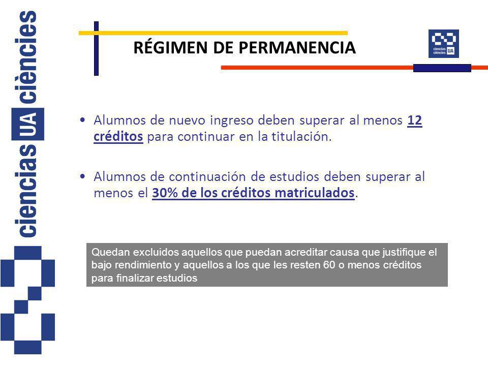 RÉGIMEN DE PERMANENCIA Alumnos de nuevo ingreso deben superar al menos 12 créditos para continuar en la titulación. Alumnos de continuación de estudio