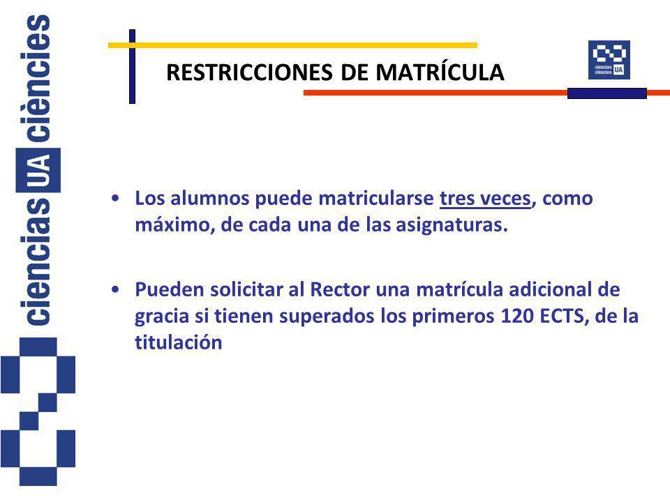 RESTRICCIONES DE MATRÍCULA Los alumnos puede matricularse tres veces, como máximo, de cada una de las asignaturas. Pueden solicitar al Rector una matr