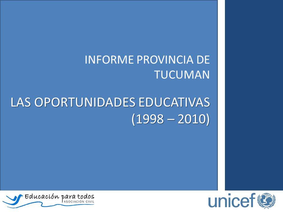 El Informe de la provincia de Tucumán – Las oportunidades educativas (1998 – 2010)… Analiza las particularidades de los itinerarios escolares de niños, niñas y adolescentes según ingreso, permanencia y progresión en el sistema educativo.