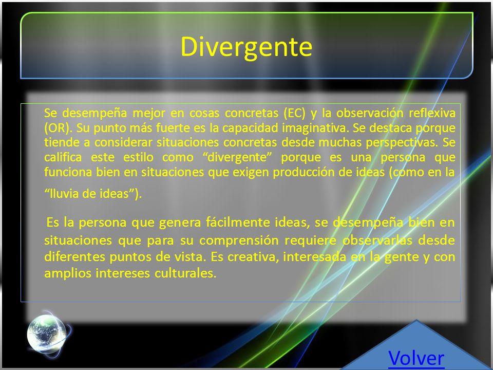 Convergente Su punto más fuerte reside en la aplicación práctica de las ideas.