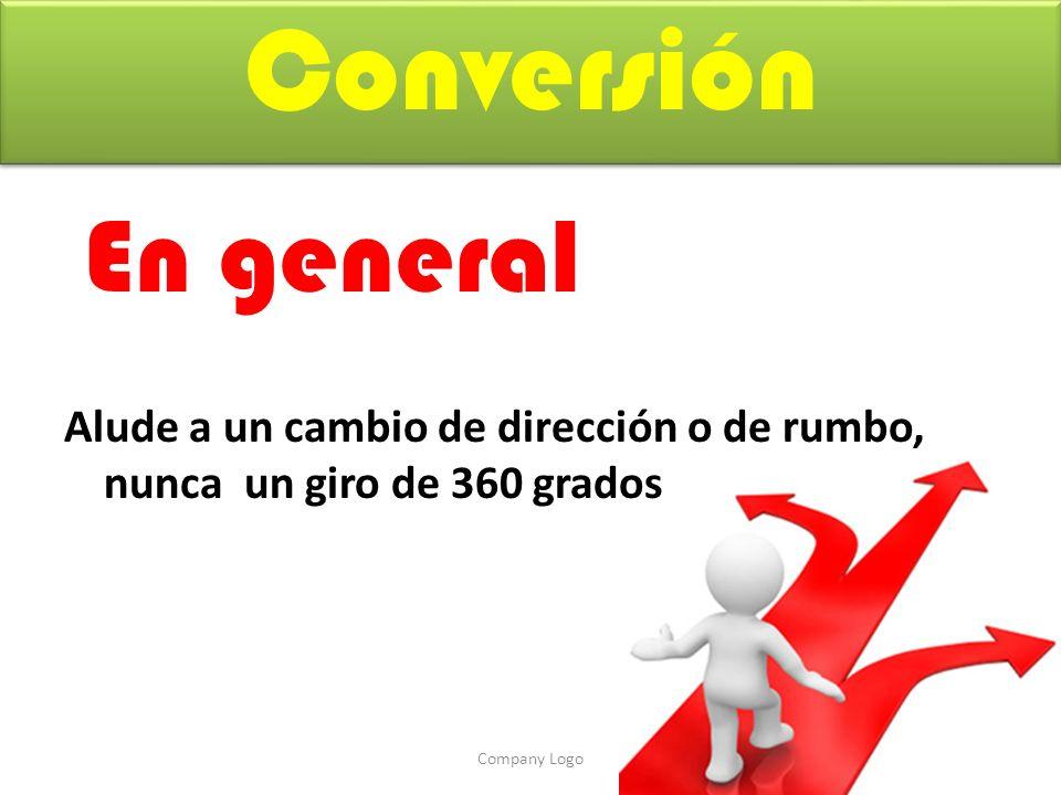 Conversión En general Alude a un cambio de dirección o de rumbo, nunca un giro de 360 grados Company Logo