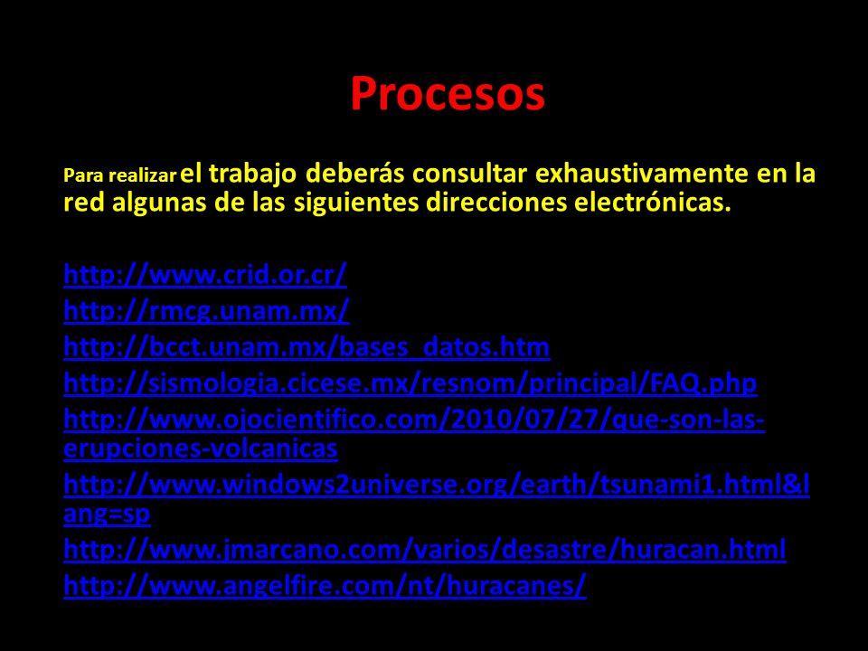 Procesos Para realizar el trabajo deberás consultar exhaustivamente en la red algunas de las siguientes direcciones electrónicas. http://www.crid.or.c