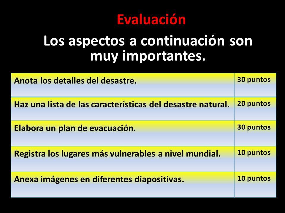 Evaluación Los aspectos a continuación son muy importantes. Anota los detalles del desastre. 30 puntos Haz una lista de las características del desast