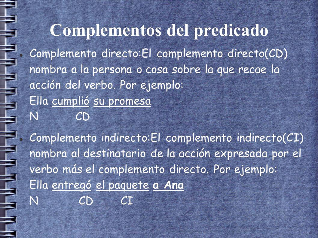 Complementos del predicado Complemento directo:El complemento directo(CD) nombra a la persona o cosa sobre la que recae la acción del verbo.