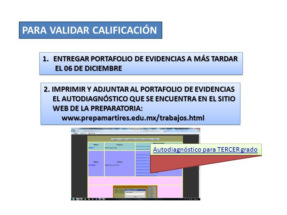 PARA VALIDAR CALIFICACIÓN 1.ENTREGAR PORTAFOLIO DE EVIDENCIAS A MÁS TARDAR EL 06 DE DICIEMBRE EL 06 DE DICIEMBRE 1.ENTREGAR PORTAFOLIO DE EVIDENCIAS A