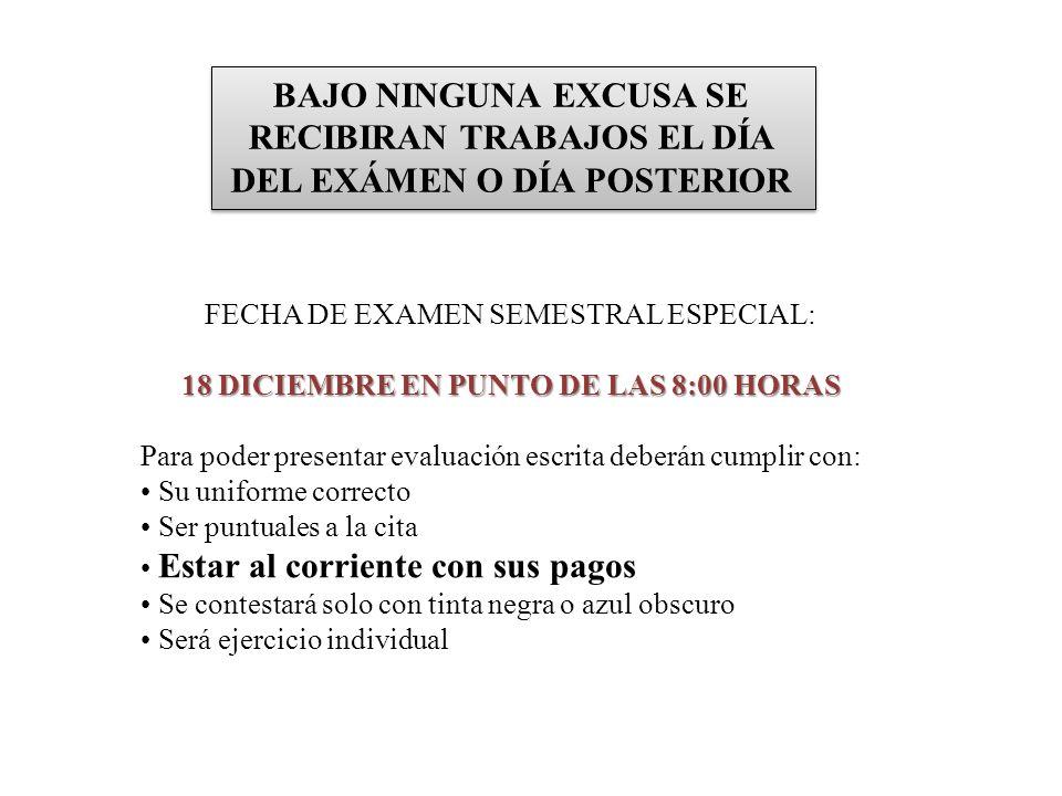 BAJO NINGUNA EXCUSA SE RECIBIRAN TRABAJOS EL DÍA DEL EXÁMEN O DÍA POSTERIOR FECHA DE EXAMEN SEMESTRAL ESPECIAL: 11 de diciembre del 2009 18 DICIEMBRE