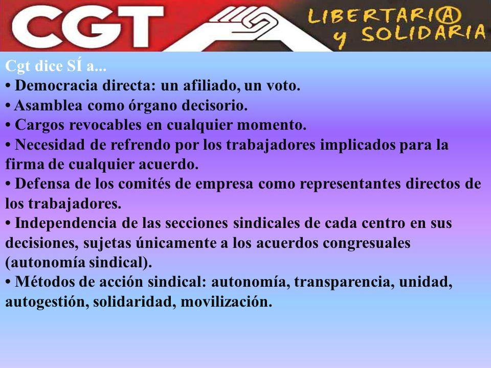 Cgt dice SÍ a... Democracia directa: un afiliado, un voto. Asamblea como órgano decisorio. Cargos revocables en cualquier momento. Necesidad de refren