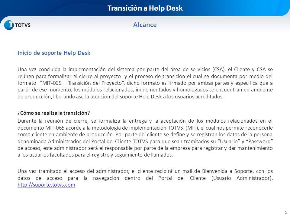 Transición a Help Desk Alcance 6 Flujo del procedimiento de transición