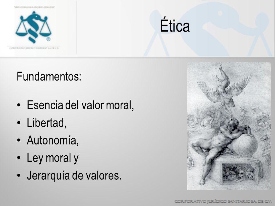 Ética Fundamentos: Esencia del valor moral, Libertad, Autonomía, Ley moral y Jerarquía de valores.