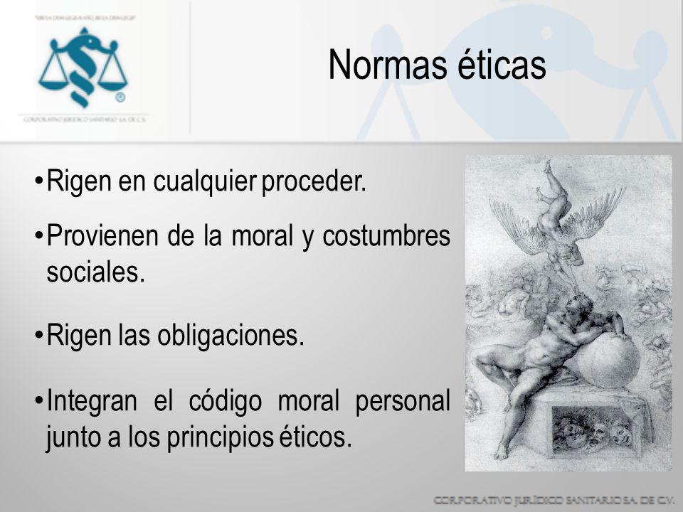 Normas éticas Rigen en cualquier proceder.Provienen de la moral y costumbres sociales.