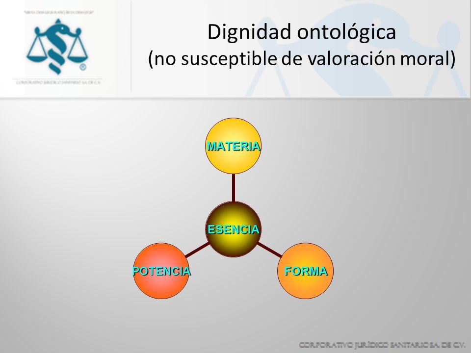 Dignidad ontológica (no susceptible de valoración moral) ESENCIA MATERIA FORMAPOTENCIA