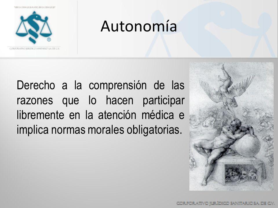 Autonomía Derecho a la comprensión de las razones que lo hacen participar libremente en la atención médica e implica normas morales obligatorias.