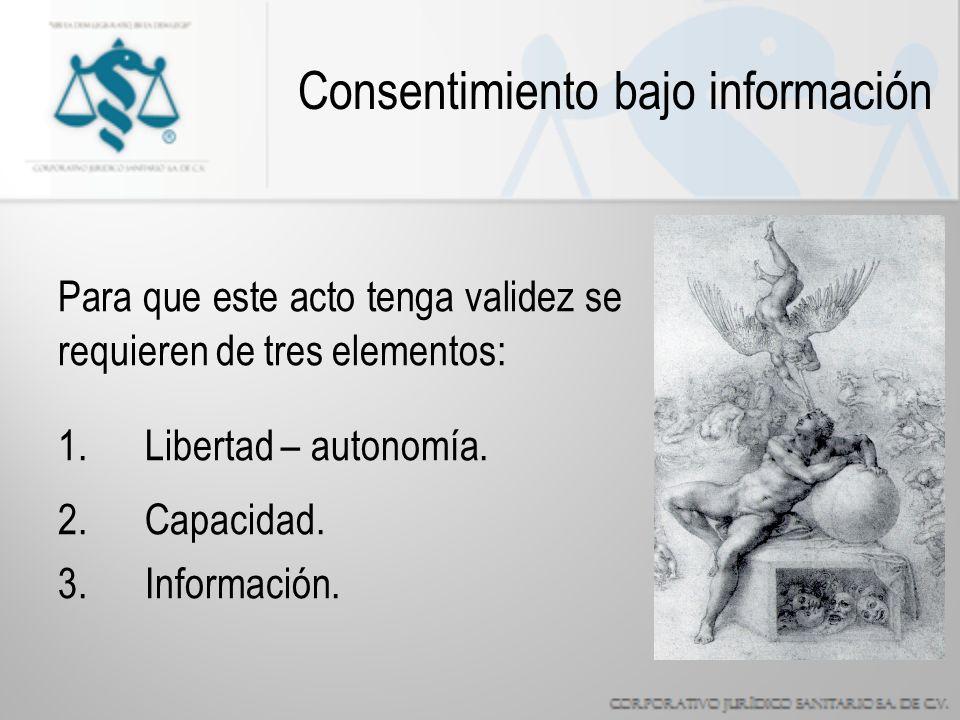 Consentimiento bajo información Para que este acto tenga validez se requieren de tres elementos: 1.