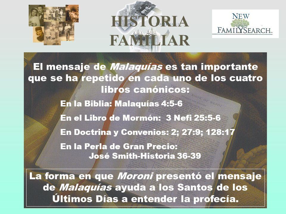 HISTORIA FAMILIAR N EW El mensaje de Malaquías es tan importante que se ha repetido en cada uno de los cuatro libros canónicos: En la Biblia: Malaquía